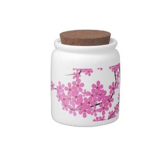 Cherry Blossom Design Candy Jar with Cork Lid