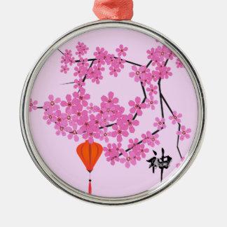 Cherry Blossom Design - Round Ceramic Ornament