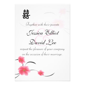 Cherry Blossom Double Happiness Wedding Collection Personalized Announcement