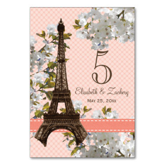 CHERRY BLOSSOM EIFFEL TOWER TABLE NUMBER CARDS