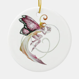 Cherry Blossom Faery Double-Sided Ceramic Round Christmas Ornament