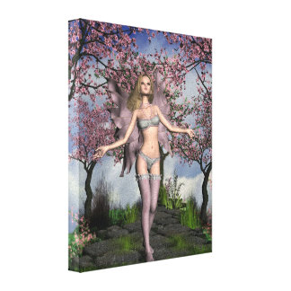 Cherry Blossom Fairy with Cherry Tree background Canvas Print