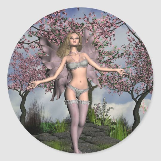 Cherry Blossom Fairy with Cherry Tree background Classic Round Sticker