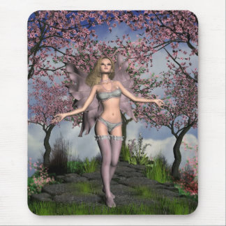 Cherry Blossom Fairy with Cherry Tree background Mouse Pad