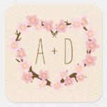 Cherry Blossom Floral Heart Wreath Monogram Stickers