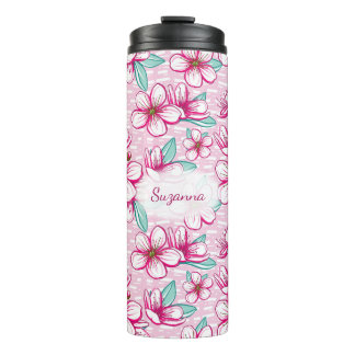Cherry Blossom floral pink monogram Thermal Tumbler