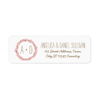 Cherry Blossom Floral Wreath Spring Monogram Label