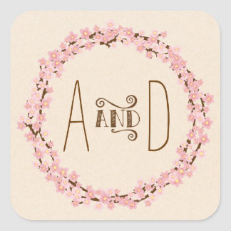 Cherry Blossom Floral Wreath Spring Wedding Square Sticker