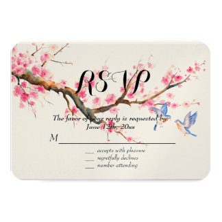 Cherry Blossom Flowers and Birds RSVP 3.5x5 Paper Invitation Card