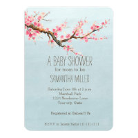 Cherry Blossom Flowers Baby Shower Card