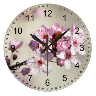 Cherry Blossom Flowers Large Clock