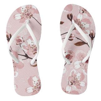 Cherry Blossom Flowers Pattern Flip Flops