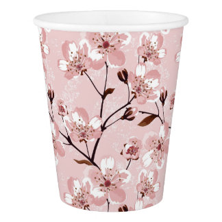 Cherry Blossom Flowers Pattern Paper Cup