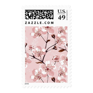 Cherry Blossom Flowers Pattern Postage Stamps