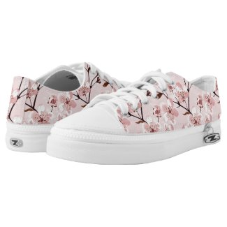 Cherry Blossom Flowers Pattern Printed Shoes