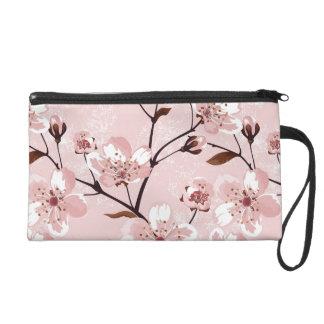 Cherry Blossom Flowers Pattern Wristlet