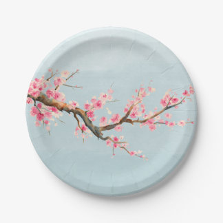 Cherry Blossom Flowers 7 Inch Paper Plate
