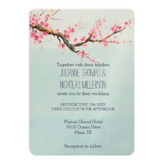 Cherry Blossom Flowers Wedding 5x7 Paper Invitation Card