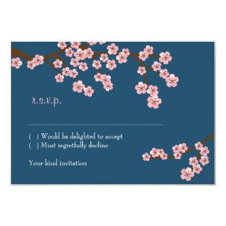 Cherry Blossom Garden (Navy) RSVP w/ envelopes Card