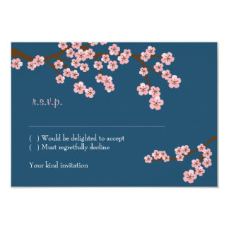 Cherry Blossom Garden (Navy) RSVP w/ envelopes Personalized Announcements