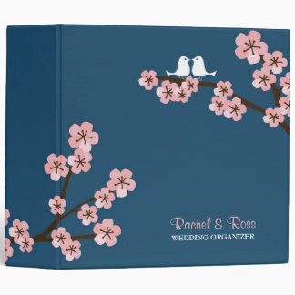 Cherry Blossom Garden (Pink Navy) Wedding 3 Ring Binder