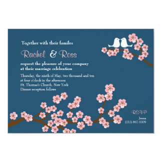 Cherry Blossom Garden (Pink Navy) Wedding Personalized Announcements