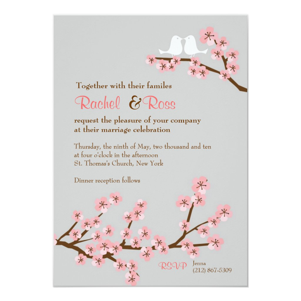 Cherry Blossom Garden Wedding Card