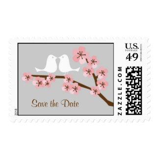 Cherry Blossom Garden Wedding Postage Stamps
