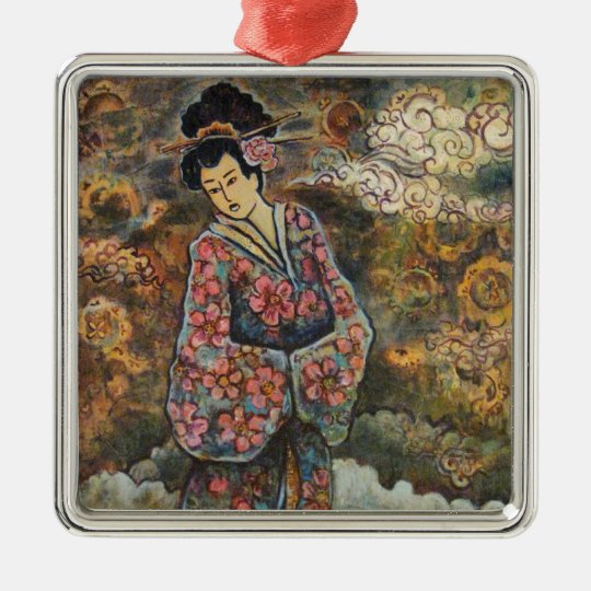 Cherry Blossom Geisha, Fine Art Products Metal Ornament