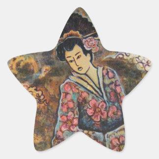 Cherry Blossom Geisha, Fine Art Products Star Sticker