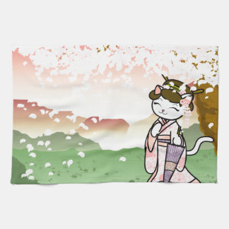 Cherry Blossom Geisha Kitty Hand Towels