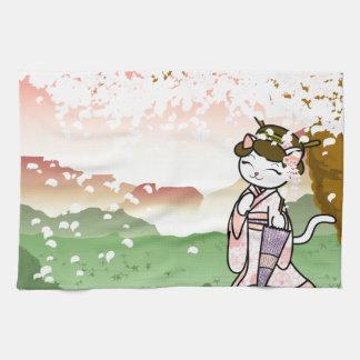 Cherry Blossom Geisha Kitty Kitchen Towel