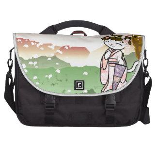 Cherry Blossom Geisha Kitty Laptop Bag