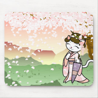 Cherry Blossom Geisha Kitty Mouse Pad