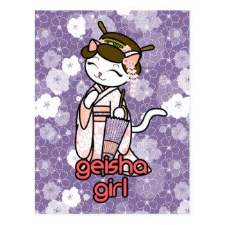 Cherry Blossom Geisha Kitty Postcard