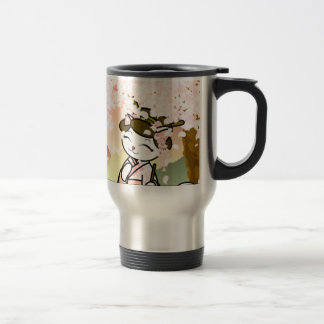 Cherry Blossom Geisha Kitty Travel Mug