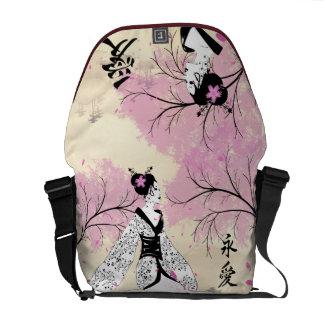 Cherry Blossom Geisha Messenger Bags