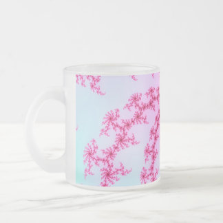 Cherry Blossom - Gentle Pink Fractal Swirls Frosted Glass Coffee Mug