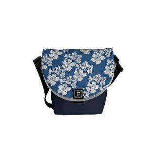 Cherry blossom girly blue flower messenger bag