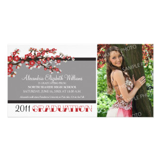 Cherry Blossom Graduation Announcement (black) Photo Card