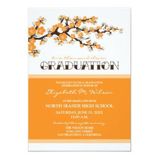 Cherry Blossom Graduation Announcement (orange)