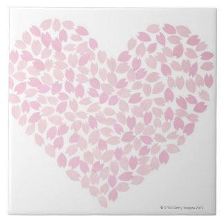 Cherry Blossom Heart Ceramic Tile