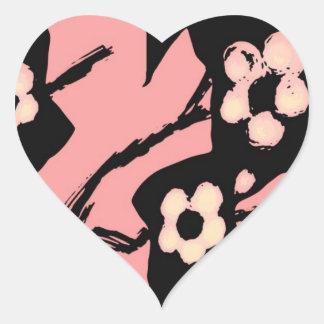Cherry blossom heart shaped sticker