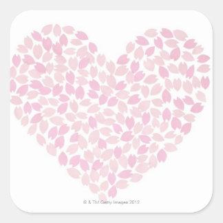 Cherry Blossom Heart Square Sticker