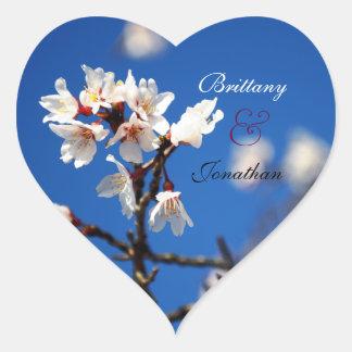Cherry Blossom Heart Wedding Stickers