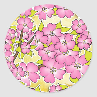 Cherry blossom illustration classic round sticker