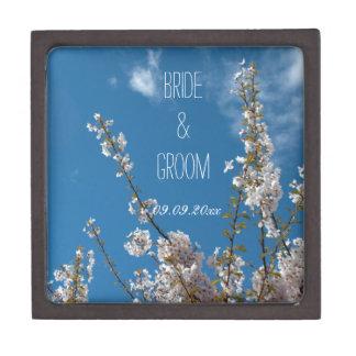 cherry blossom in blue sky wedding treasure box. premium jewelry box