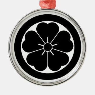 Cherry blossom in circle metal ornament