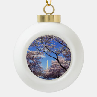 Cherry blossom in Washington DC Ceramic Ball Christmas Ornament