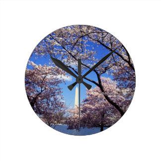 Cherry blossom in Washington DC Round Clock